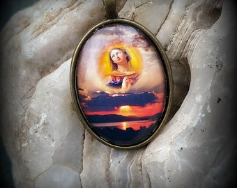 Virgin Mary Picture Pendant Necklace, Mother Mary , Sunset Over Lake Necklace