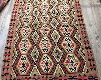 beige rug turkish rug ethnic rug antique rug handmade rug 5.6x3.6 ft- RS18006