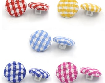 5 - 14mm - 5 different colors gingham fabric covered buttons