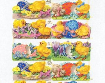 Antique Embossed Chromolithograph English Die Cut Easter Chick Egg Scrap
