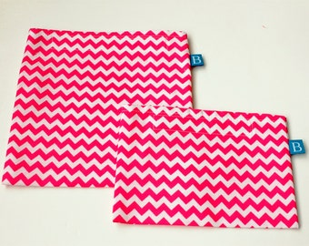 Reuseable Eco-Friendly Set of Snack and Sandwich Bags in Pink Chevron Fabric