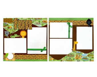 Zoo Fun - Premade Scrapbook Page Set - Two 12x12 Pages
