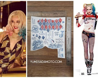 Harley Quinn Temporary Tattoo package suicid squad Margot Robbie cosplay costume perfect for harley club or regular
