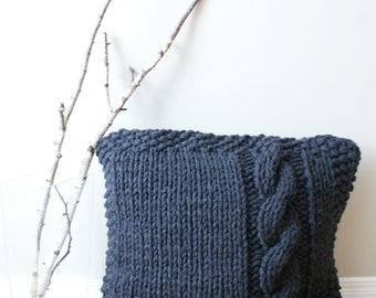 "DIY Knitting PATTERN - Chunky Cable Knit Pillow Cover Approximately 27"" x 27"" (pillow002)"