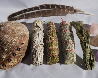 Smudge Kit - White Sage, Blue Sage, Sweet Grass & Cedar - with 3 Crystals - Quartz Point, Tumbled Amethyst and Amazonite