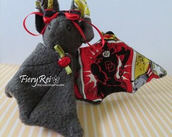 Gray Comics Baby Bat Plush, Plushie, Stuffed Animal