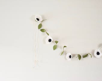 Anemone felt flower garland - hanging wedding ceremony backdrop - floral garland