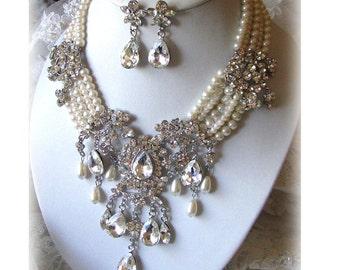 Bridal jewelry set, wedding jewelry, Victorian jewelry, bridal jewelry, Bridal necklace earrings, Formal jewelry,  evening pearl necklace