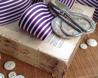 purple plum and cream striped grosgrain ribbon