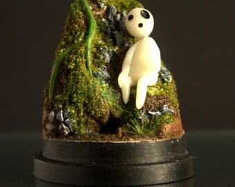 Handmade Glowing Miniature Kodama Forest Spirit Dome Terrarium inspired by Studio Ghibli's film Princess Mononoke made from Polymer Clay