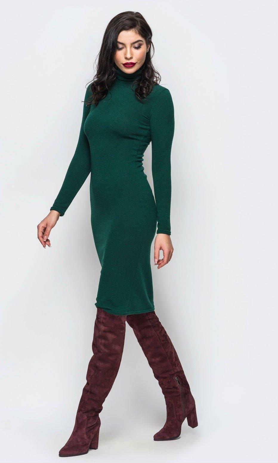 Grüne Angora Kleid gestrickte warme Herbst dunkel grünen Kleid