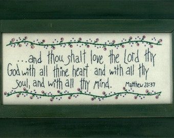 "Primitive Hand Embroidery Stitchery PATTERN ""Thou Shalt Love...""MAC127"