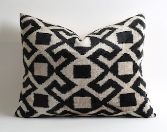 Throw pillows black and white Velvet Ikat Pillow Cover tribal cushion geometric pillow designer cushion livingroom decorating