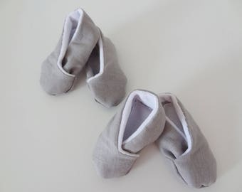 Twin linen slippers / twins, newborn to 3 months baby mixed