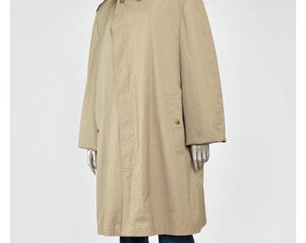 30% OFF SALE London Fog Trench Coat Raincoat 60s Jacket Khaki Beige Trench Knee Length Trenchcoat Rain Coat 1960s Jacket L/XL