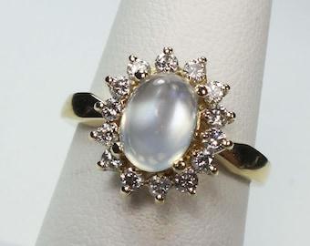 Moonstone Ring Alternative Engagement Ring Diamond Halo Ring 14k Yellow Gold Natural Moonstone Ring Genuine Cabachon Moonstone Ring