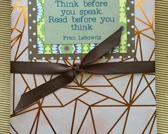 Quotebook - rose et cuivre - Frank Lebowitz citation - lecture Journal - Journal intime pour les lecteurs