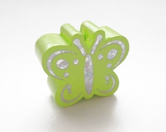 Butterfly Glitter - lime green wooden bead