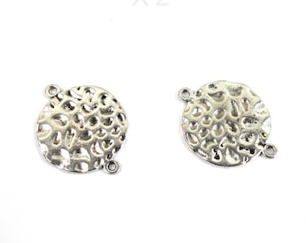 Set of 2 large hammered effect, antique silver connectors