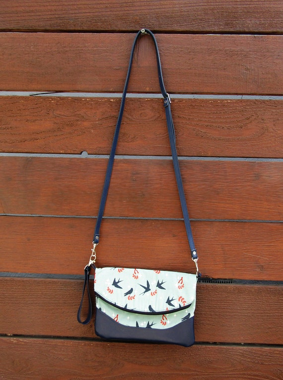 Swallows Handmade  Clutch cross body purse wristlet handbag shoulder bag evening bag