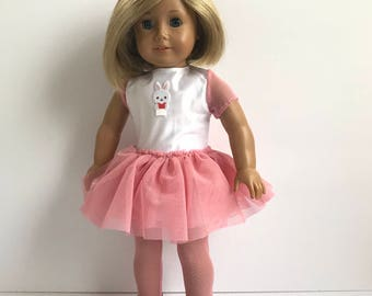 """Pink and White Tutu Style Dress with Matching Tights - Fits an 18"""" American Girl Sized Doll"""