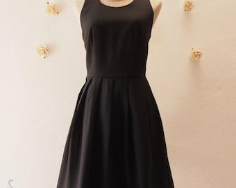 Little Black Dress Women Halloween Dress Black Vintage Modern Sundress Backless Dress Low Back Dress Black Party Dress Black Summer Dress