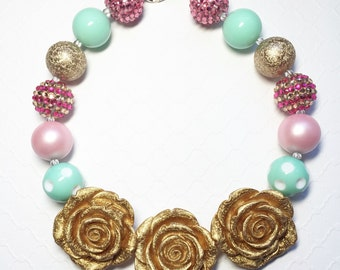 Pink and gold chunky bubble gum necklace, bubble gum necklace, chunky bead necklace, photo prop necklace, flower girls necklace,