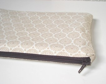 Makeup pouch - bag or multi-purpose bag - beige circles