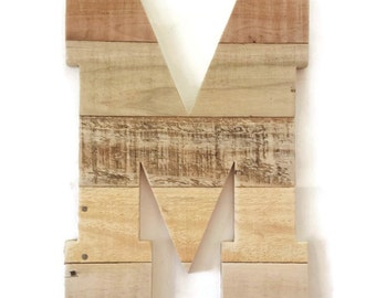 """Letter M, Large rustic wall decor, Wood Letter, Rustic Home Decor, Reclaimed Wood Letter, Rustic Wedding, 16"""" wood letters, Rustic Nursery"""