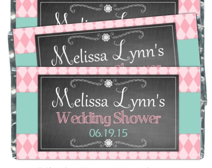 Bridal Shower Candy Wrappers, Wedding Shower Printable Candy Wrappers, Shabby Chic Chalkboard Chocolate Bar Candy Wrappers -  YOU PRINT