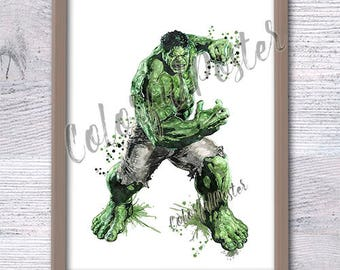 Hulk art print Marvel superhero poster Kids room wall art Boys room decor Hulk watercolor poster Home decoration Wall hanging art decor V250