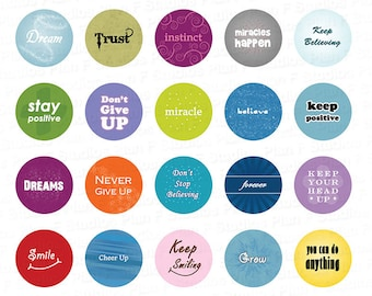 Inspirational Words Digital Collage Sheet - 1.313 Inch Circles for 1 Inch Buttons - Instant Download