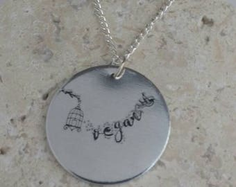 "Vegan handstamped necklace - vegan necklace - jewelry - until every cage is empty - animal rights jewellery - 3cm pendant on 18"" chain"