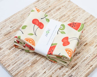 Large Cloth Napkins - Set of 4 - (N1188) - Cherries Fruit Modern Reusable Fabric Napkins