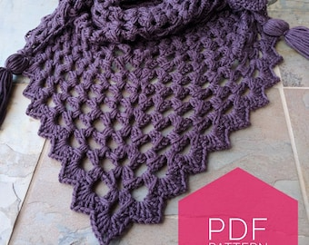 The Celastrus Shawl, Crochet Pattern, Instant Download, PDF file, Crochet, Triangle Scarf, Worsted weight