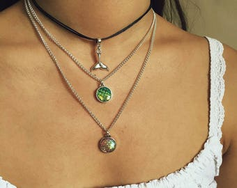 Mermaid Necklace / Mermaid Choker, Mermaid Tail Necklace, Mermaid Tail Choker, Mermaid Scale Necklace, Iridescent Necklace, Sparkly Necklace