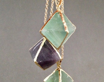 Fluorite Octahedron Pendant Necklace for Mental Clarity, Order and Structure, Spiritual Growth, Inner Reflection, and Mercury Retrograde