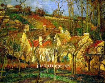 """Cammille Pissarro, Red Roofs, Corner of Village, Winter, 1877, Musee d Orsay, Paris France, French art, cityscape 11x14"""" Cotton Canvas Print"""