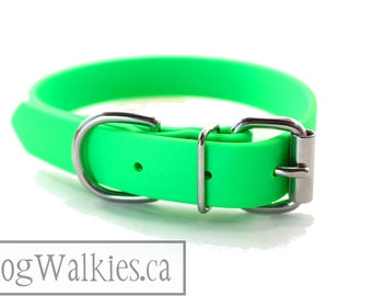 """Biothane Dog Collar - Neon Apple Green 1"""" (25mm) - Leather Look and Feel - Adjustable Custom Size - Stainless or Brass Hardware"""