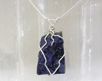 Azurite Silver Wrap Pendant