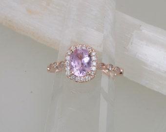Cushion Pink Sapphire Rose Gold Art Deco Ring