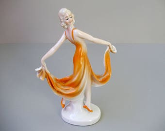 Vintage ,German porcelain lady figurine,dancing girl,ballerina,hand painted