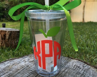 Teacher Tumbler - Apple Monogram - Personalized Acrylic Tumbler - Teacher Gift - Teacher Cup - Teacher Appreciation