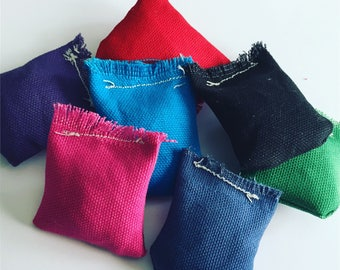 Set of 2 - 2 inch square catnip toys - catnip beanbags - Super Durable Duck Canvas  - Pick your colors