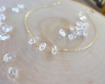 Dainty Herkimer Diamond quartz crystal necklace, April Birthstone, Feminine Bridal Jewelry, Bridesmaids, Maid of Honor, Mother of the Bride
