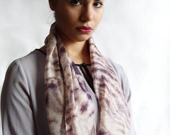 Valenitne's day gift for her delicate silk scarf, hand dyed with natural tint with the arashi shibori technique/purple/100%silk/55x18 in