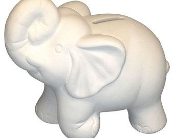Unfinished Ceramics Ready to Paint Pottery Elephant Bank