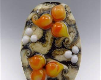 ORANGE, BLACK & IVORY  - Freeform Lampwork Focal Bead - Handmade Jewellery Supplies - by Stephanie Gough sra fhfteam leteam