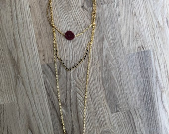 triple chains necklace, handmade, hand made, necklace