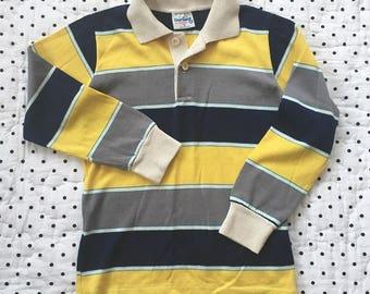 Vintage Healthtex Yellow Blue Striped Shirt Boys Sz 6